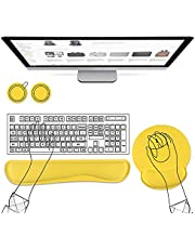 AtailorBird Wrist Rest Mouse Pad & Keyboard Wrist Support Set Free 2 Cork Coasters Surface Lycra Material Memory Foam Filling Rubber Non-Slip Base Ergonomic Fits Most Keyboards and laptops - Yellow