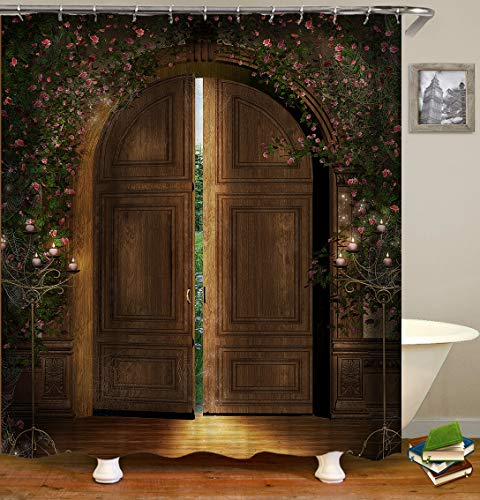 Lemoner Flowers and Rustic Old Wooden Doors Theme Shower Curtain Decor by, Polyester Fabric Waterproof Shower Curtain for Bathroom, 72X72in, Shower Curtains Hooks Included.
