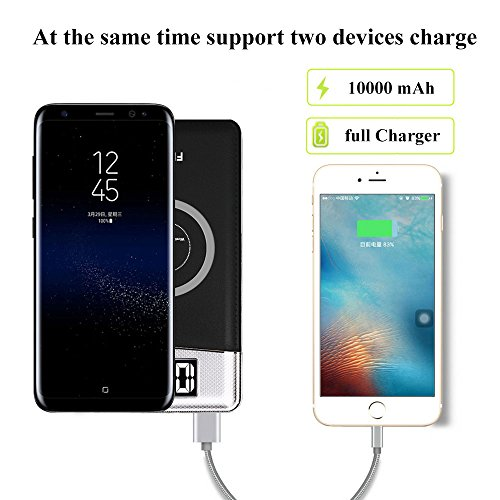 FDGAO Wireless Power Bank, Portable Charger 10000mAh Wireless Portable Charger with LED Digital Display Fast Charging for iPhone 8/8 Plus/iPhone X,Samsung Galaxy Note8/S8/S7/S7 Edge (Black) by FDGAO (Image #4)
