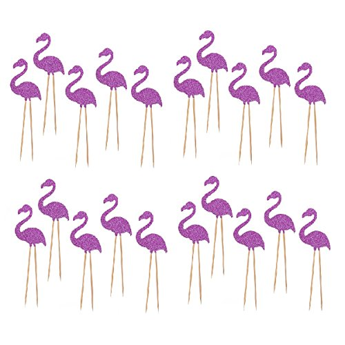 JANOU-Hawaii-Cake-Topper-Flamingo-Cake-Picks-for-Luau-Beach-Party-Decoration-Pack-20pcs