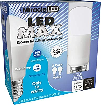 MiracleLED 604720 12-watt LED MAX 1125 Lumens Perfect A19 Household Replacement Light Bulb, Cool White, 2-Pack