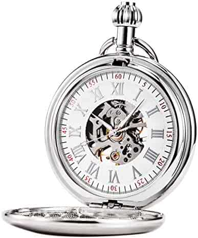 Treeweto Men's Pocket Watches Smooth Silver Antique Mechanical Pocket Watch for Men Women with Chain