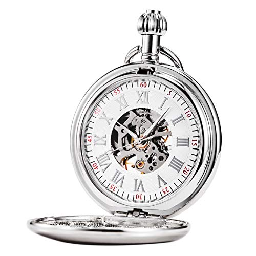 - Treeweto Men's Pocket Watches Smooth Silver Antique Mechanical Pocket Watch for Men Women with Chain