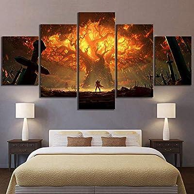 5 Paneles De Pintura Arte Moderno De La Pared Decoraci/ón del Hogar para Sala De Estar Canvas HD Juego Impreso Mundo De Warcraft Im/ágenes Posters