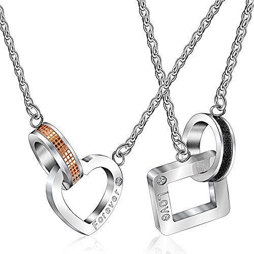 Uloveido 2 Pieces Heart & Square Titanium Pendant Engraved Love Forever Couples Ring Rolo Cable Link Chain Necklace for Men and Women SN048 (Pairs Necklace)
