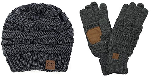 Bysummer C C  Warm Winter Cable Knit Slouchy Beanie And Smart Touch Texting Gloves Bundle Set  Metalic Dark Melange Grey