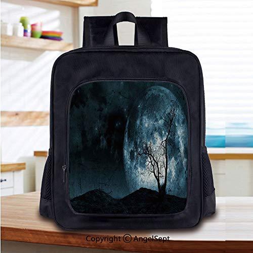 Kids School Backpack,Night Moon Sky with Tree Silhouette
