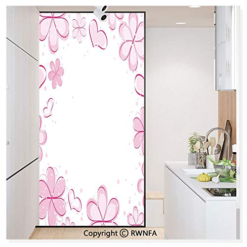 Non-Adhesive Privacy Window Film Door Sticker Inspirational Girls Hearts Cute Flower Petals Spring Style Cute Kids Design Glass Film 23.6 in. by 78.7in. (60cm by 200cm),White Baby Pink