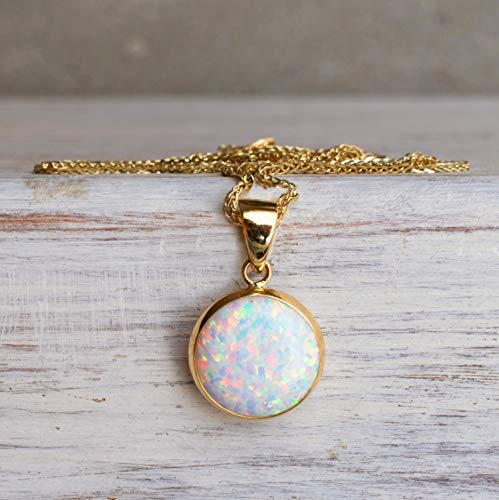 (14K Gold White Opal Necklace - 14K Solid Yellow Gold Dainty Necklace with October Birthstone Pendant, 12mm Large Size Opal Gemstone - Handmade Bridal Wedding Jewelry for Brides & Classy Women)