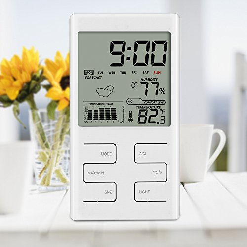 Indoor Humidity Monitor, GoerTek Hygrometer Thermometer Home Weather Station with LCD Backlight Screen Display, Weather Forecast, Alarm Clock and Calendar