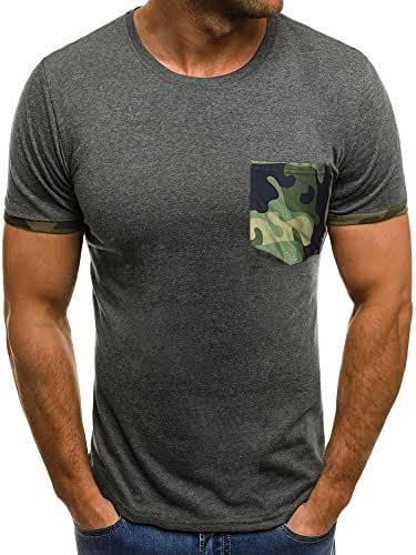 TIFENNY Men's Muscle Fashion T-Shirt Slim Casual Fit Short Sleeve Patchwork Camouflage Pocket Blouse Tops Shirt