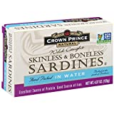 Crown Prince Natural Skinless & Boneless Sardines in Water, 4.37-Ounce Cans (Pack of 12)