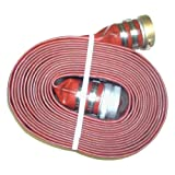"Eagleflo Eagle PVC Discharge Hose Assembly, Red, 1.5"" Male X Female Water Shanks, 200 Psi Maximum Pressure, 1.5"" Hose ID, 50' Length"