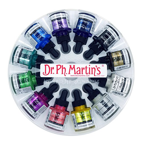 - Dr. Ph. Martin's Iridescent Calligraphy Color Bottles, 1.0 oz, Set of 12 (Set 1)
