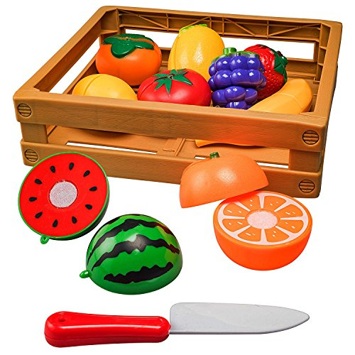 Cutting Fruits and Veggies Toy Cutting Food Toy Pretend Cutting Play Food Sets (20 Piece) (Fruit Toy Plastic)