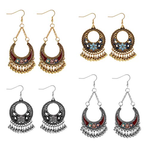 FUNRUN JEWELRY 4Pairs Gold/Silver Plated Dangle Earrings for Women Girl Vintage Antique Ethnic Drop Earring Brocade Mexico