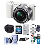 Alpha A5100 Mirrorless Digital Camera with 16-50mm Lens, White Body, Black Lens - Bundle with Camera Case, 16GB Class 10 SDHC Card, Cleaning Kit, 40.5mm Filter Kit, Software Package and More