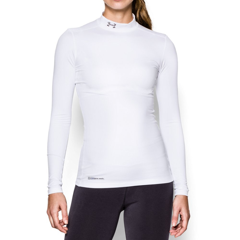 Under Armour Women's ColdGear Authentic Mock, White (100)/Metal, Medium by Under Armour