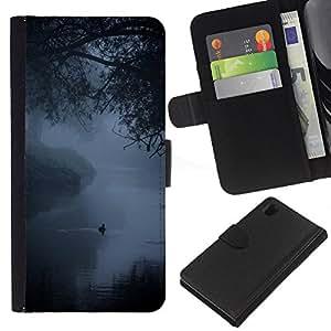 A-type (Fog Mist Lake Duck Nature Spring) Colorida Impresión Funda Cuero Monedero Caja Bolsa Cubierta Caja Piel Card Slots Para Sony Xperia Z1 L39