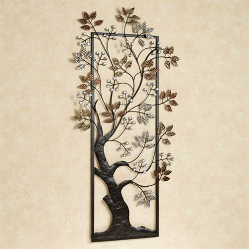- Touch of Class Tree Metal Wall Art Copper Bronze Platinum Metallic Finish leaves with blossoms