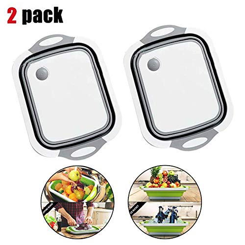 2 Pack Folding Cutting Board With Basket | Collapsible Dish Tub with Draining Plug | Colander Fruits Vegetables Wash and Drain Sink Storage Basket 3-in-1 Food Grade Plastic Chopping Board