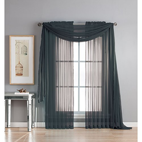 Window Elements Diamond Sheer Voile 56 x 216 in. Curtain Scarf, Black (Window Voile)