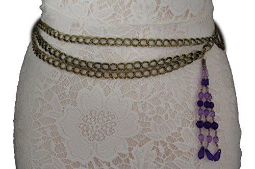 TFJ Women Fashion Belt Hip Waist Metal Chain Links Side Beads Antique Dark Gold S M L (Purple beads) - Link Hip Belt
