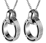 Epinki 2Pcs Couple Necklace, Stainless Steel Cubic Zirconia Mesh Ring ...