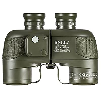 BNISE Military HD Binoculars - Navigation Compass and Rangefinder - 10x50 Large Object Lens BAK4 Large View - Waterproof and Fogproof - with Harness Strap and Neck Stap