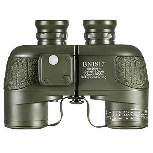 BNISE Military HD Binoculars for Adults, Navigation Compass and Rangefinder for Hunting, 10x50 Large Object Lens BAK4 Large View, Waterproof and Fogproof, with Harness Strap and Neck Strap by BNISE