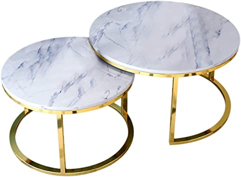 Amazon Com Modern Coffee Table Set Of 2 Thicken Marble Top Round