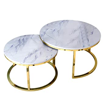 Fabulous Amazon Com Modern Coffee Table Set Of 2 Thicken Marble Top Caraccident5 Cool Chair Designs And Ideas Caraccident5Info