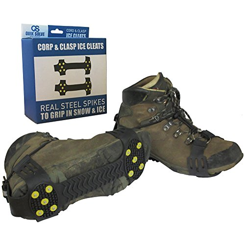 Grip Traction (Quik Solve Snow Ice Traction Shoe Boot Cleats - Walking Grip Spikes Medium)