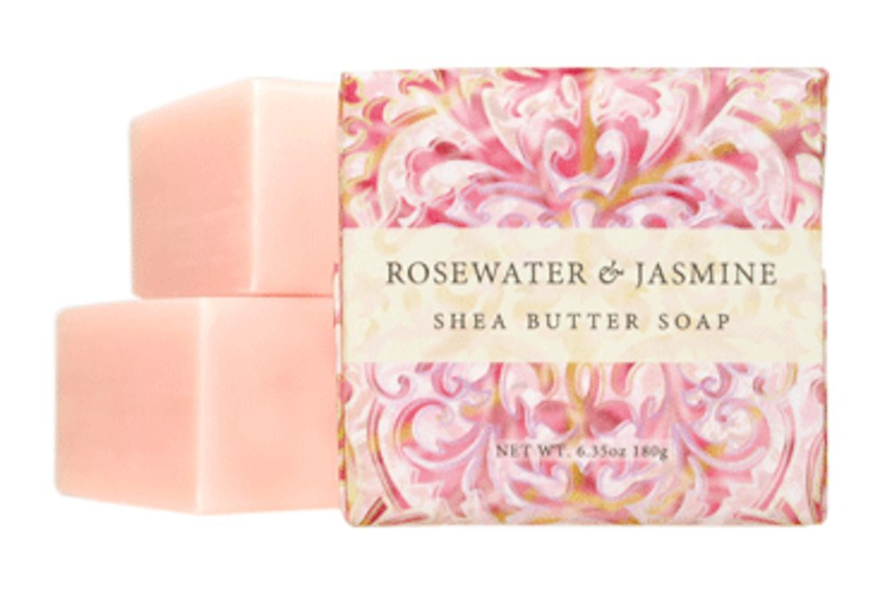 Greenwich Bay - 3 Shea Butter Bar Soaps - Rosewater & Jasmine Greenwich Bay Trading Co