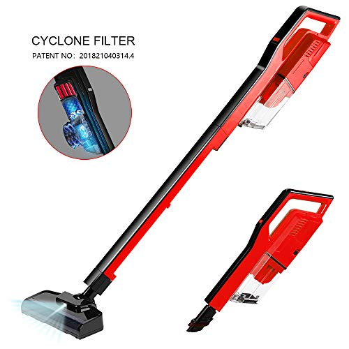 Cordless Vacuum Cleaner, 4 in 1 Stick Handheld Vacuum Lightweight 400W 7 Kpa Digital Motor,Upright Vacuum Cleaning for Pets Hair Hard Floor Carpet(Red)