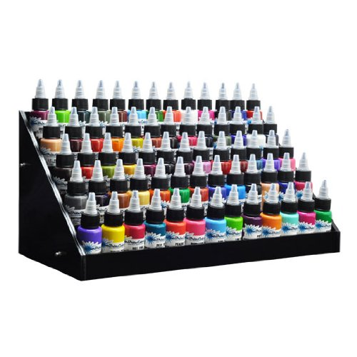 Beauticom Black Acrylic Tattoo Ink Small Display Stand 6-tier Rack Organizer Table Counter (Dimension Size: 14