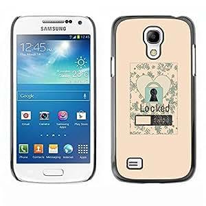Be Good Phone Accessory // Dura Cáscara cubierta Protectora Caso Carcasa Funda de Protección para Samsung Galaxy S4 Mini i9190 MINI VERSION! // Lock Screen Love Heart Floral Vignette