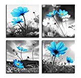 Image of HLJ Arts Modern Salon Theme Black and White Peacock Blue Vase Flower Abstract Painting Still Life Canvas Wall Art for Home Decor 12x12inches 4pcs/set