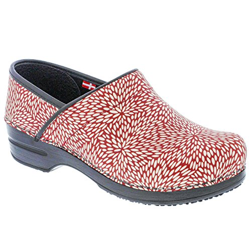 Sanita Women's Smart Step Pro. Perennial Clog, Red, 40 M EU (9-9.5 US) (Sanita Slip Clogs)