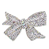 EVER FAITH Wedding Silver-Tone Bow Austrian Crystal Brooch Clear Ab