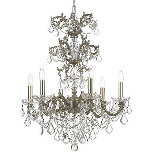 Highland Park Outdoor Light - Crystorama 5286-OS-CL-MWP Transitional Six Light Chandelier from Highland Park collection in Pwt, Nckl, B/S, Slvr.finish,