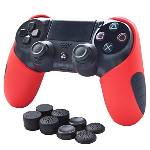 Skin for PS4 Controller Pandaren Soft Silicone Thicker Half Skin Cover Grip for PS4 /SLIM /PRO Controller Set (Red skin X 1 + Thumb Grip X 8) (Soft Silicon Skin)