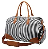 Gimay Weekend Travel Bag Women Overnight Duffle Canvas Tote Bags ... (Black)