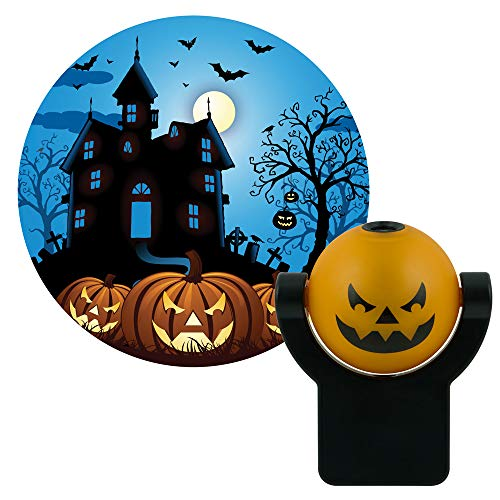 Projectables 11361 Haunted House LED Plug-In Night Light, Auto On/Off, Light Sensing, Projects Halloween Image on Ceiling, Wall or Floor ()