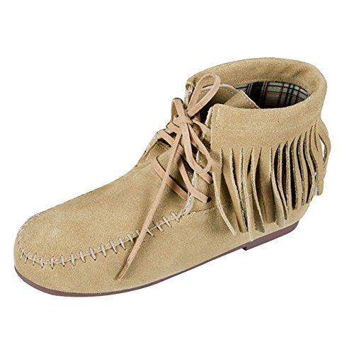 Frestepvie Bottes Bottine Suédine Classique Femme Lacets velours Chaussure Confort Courtes Beige Ville Boots Plates B Doublure Automne Frange Hiver ppdrxq