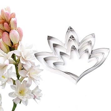SK 3pcs Tuberose pétalos molde flor cortador decoración fondant cake moldes para acero inoxidable: Amazon.es: Hogar