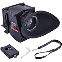 Neewer S5 Foldable 3/3.2 4:3/3:2 LCD Viewfinder 3X Optical Magnification Low Angle Multi Finder with Mental Plate for CANON 5DII 5DIII NIKON D90 D7000 D7100 DSLR Cameras