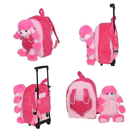 2-in-1 Kids Plush Rolling Suitcase/Backpack with Stuffed Animal - Pink Poodle (Poodle Backpack)