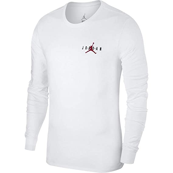 4c0a446bf8b Jordan Long Sleeve T-Shirt - Sportswear Air Jumpman White/red:  Amazon.co.uk: Clothing