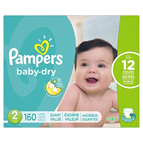 Pampers Baby-Dry Disposable Diapers Size 2, 160 Count, GIANT